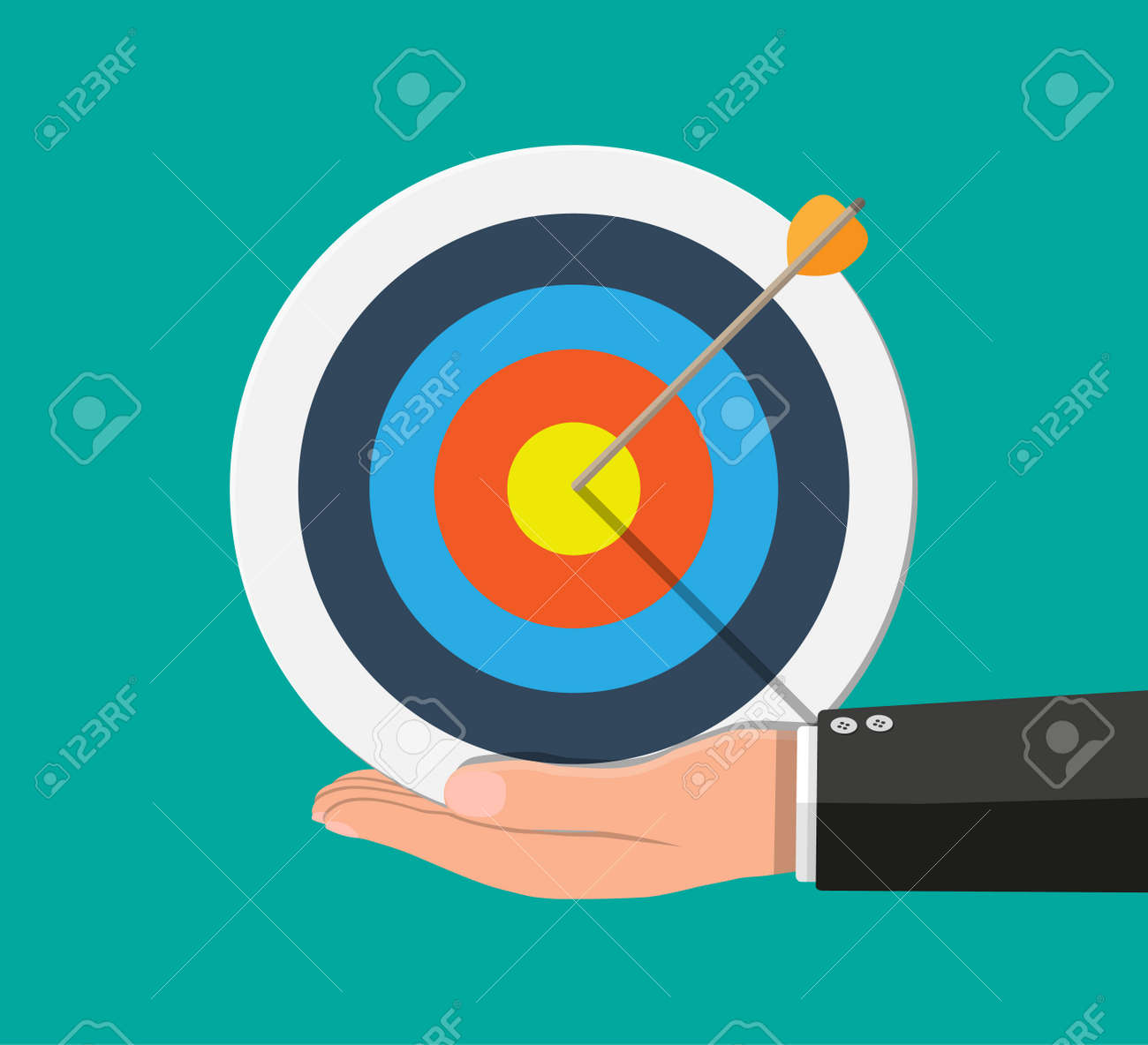 Hand Of Man Holding Target With Arrow Stock Vector