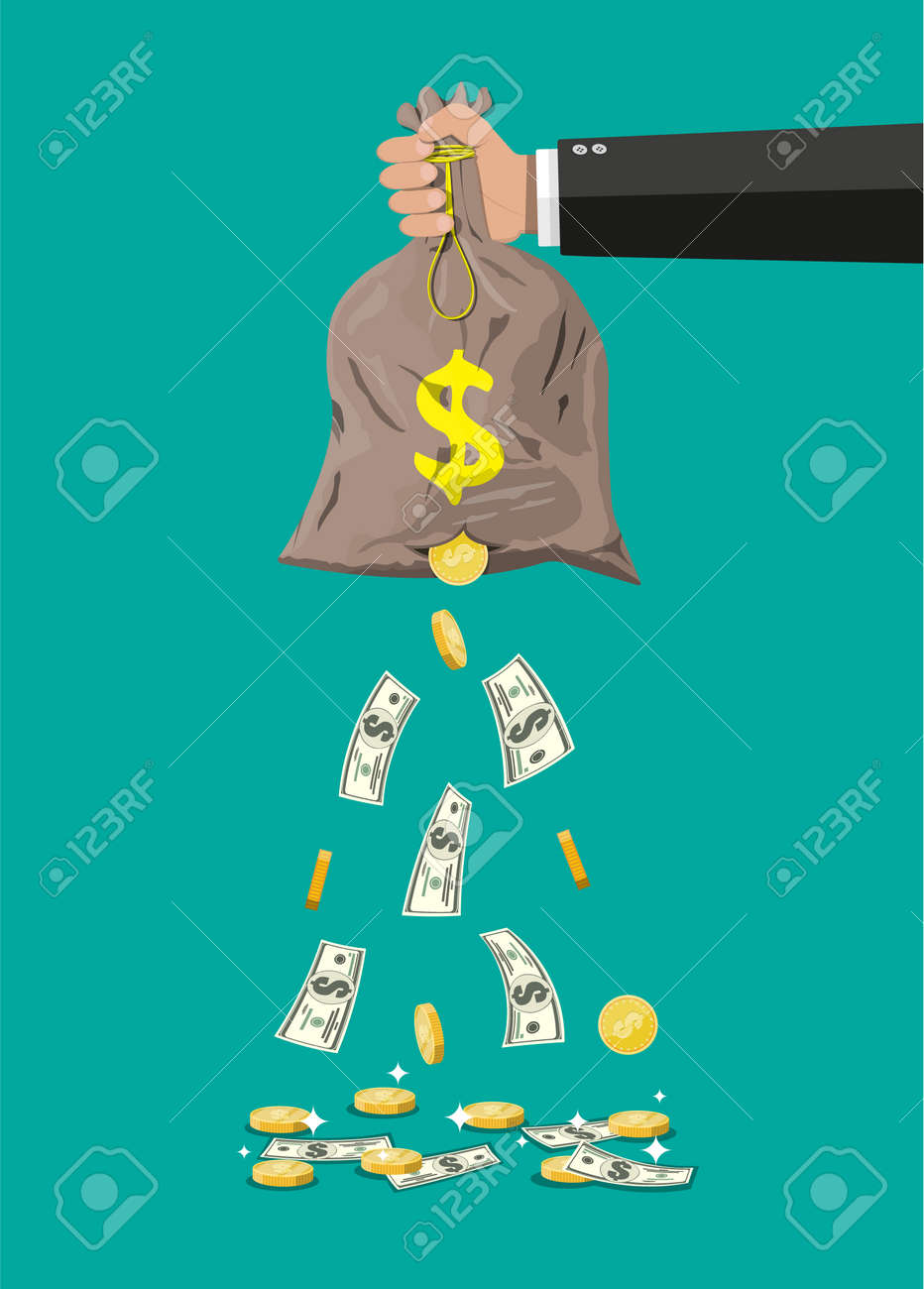 Money bag with hole in hand. Losing golden coins and dollar cash. Losing money and overspending. Vector illustration in flat style - 93447162