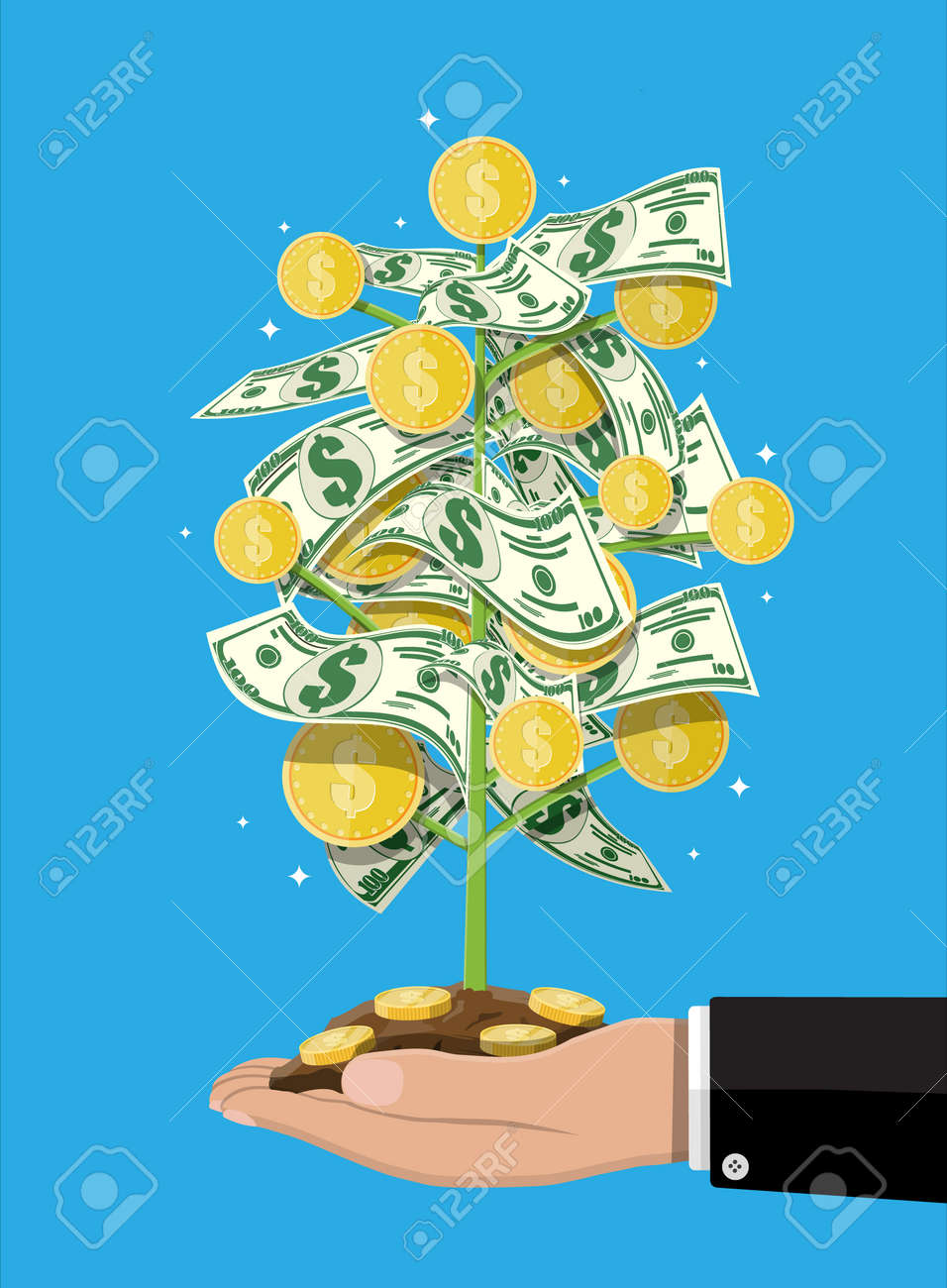 Money Tree In Hand Growing Money Tree Investment Investing