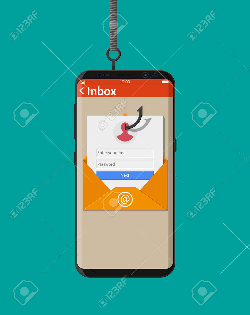 Login in account in email envelope and fishing hook  Internet