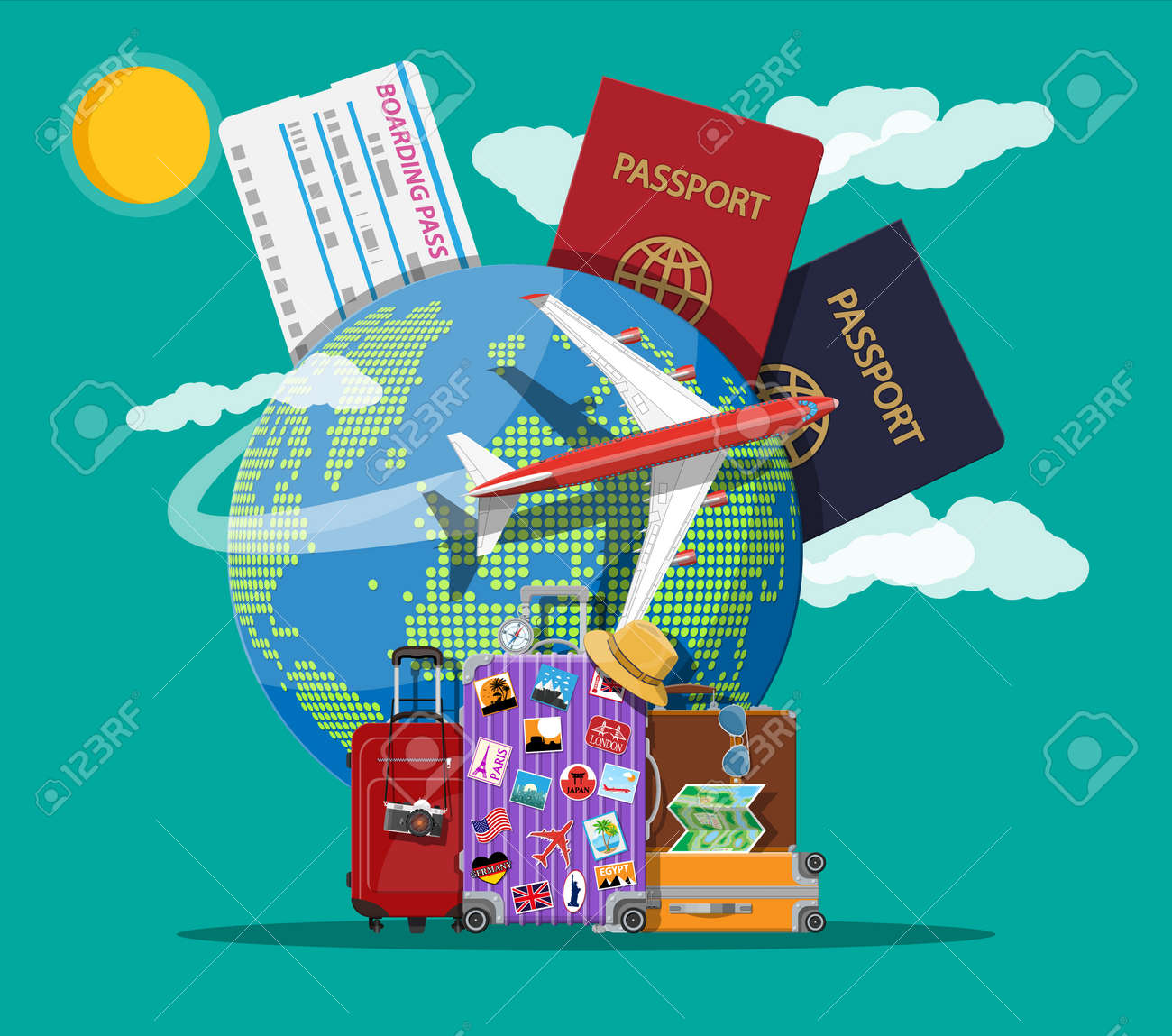 Travel suitcase with stickers and world map ilustraciones travel suitcase with stickers and world map foto de archivo 98010098 gumiabroncs Image collections
