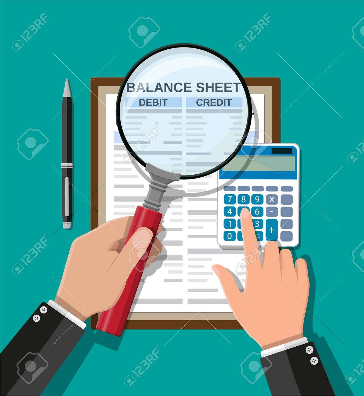 Accountant checks money balance - 103013707