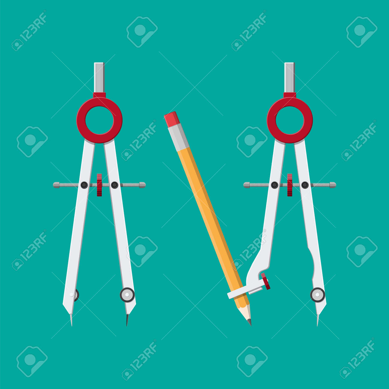 divider caliper with attached pencil for office supply school stationery
