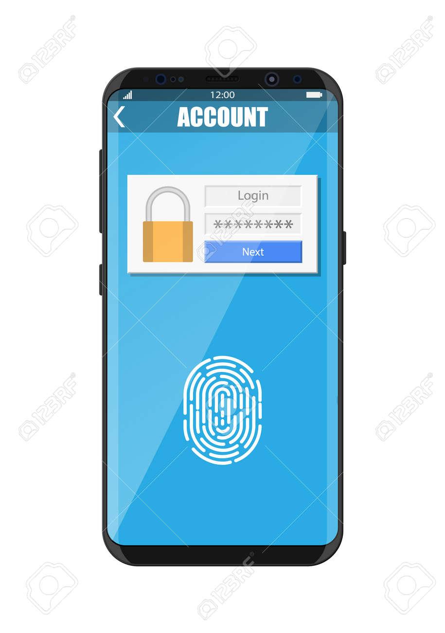 Smartphone unlocked by fingerprint sensor  Mobile phone security,