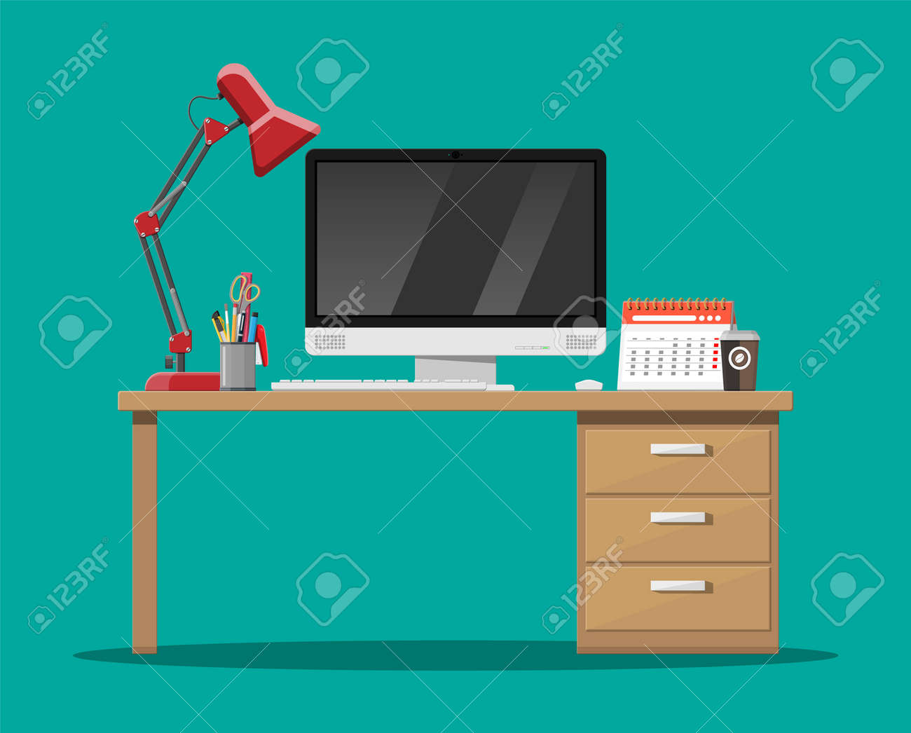 Office desk with computer, lamp, coffee cup, calendar and Pen..