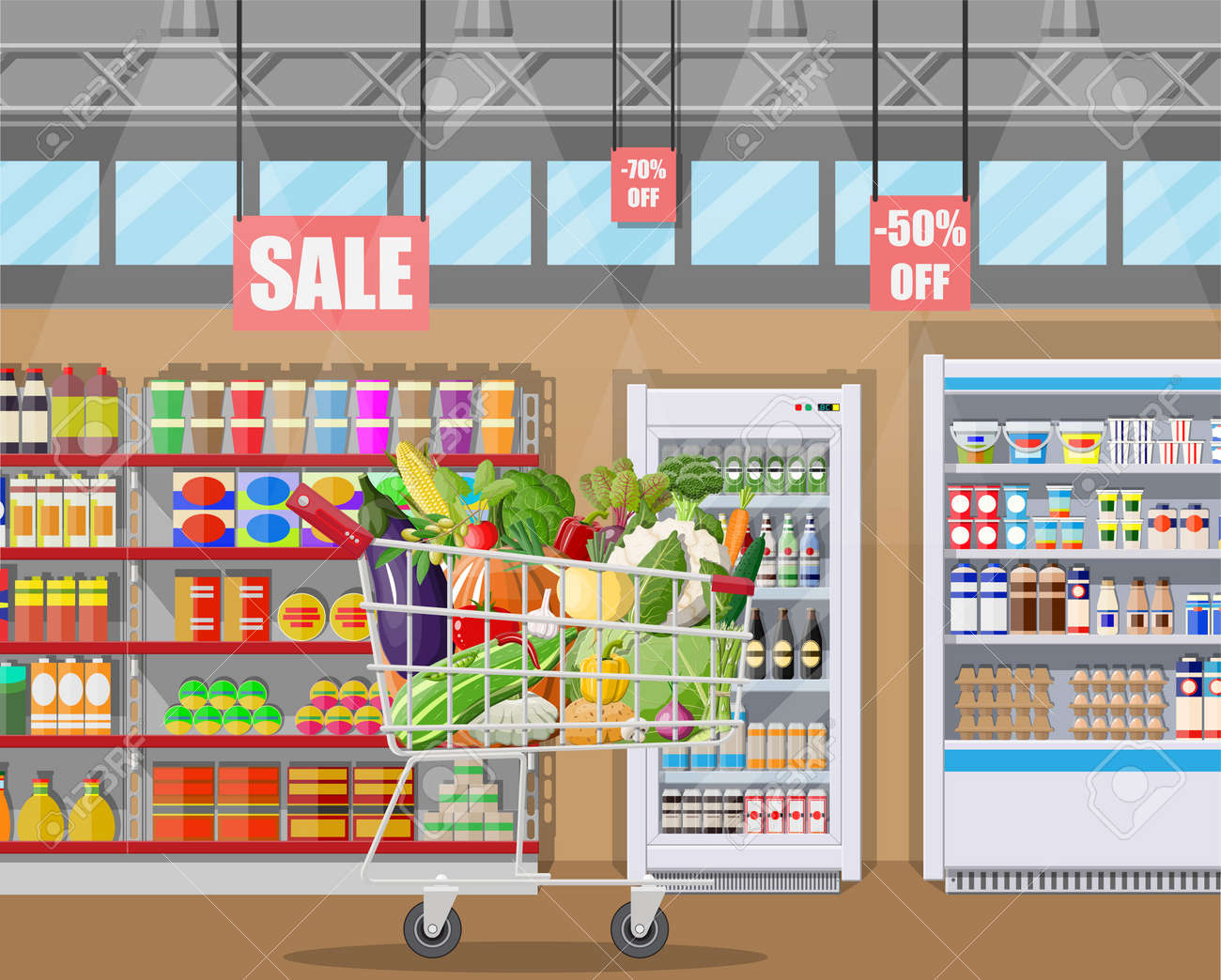 Supermarket store interior with vegetables in shopping cart. Big shopping mall. Interior store inside. Checkout counter, grocery, drinks, food, dairy products. Vector illustration in flat style - 110160593