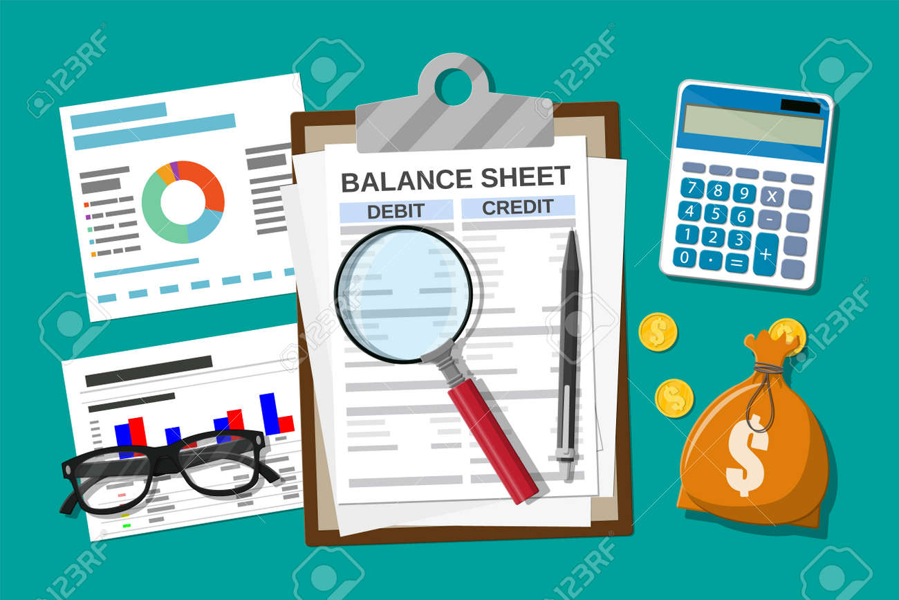 Clipboard with balance sheet and pen. Calculator money balance. Financial reports statement and documents. Accounting, bookkeeping, audit debit and credit calculations. Vector illustration flat style - 109624145
