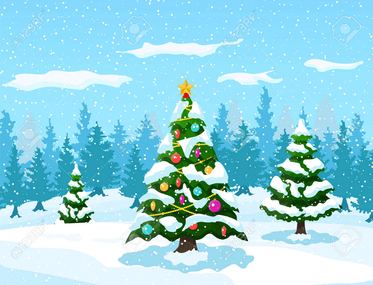 Christmas Trees Background Clipart.Christmas Background Christmas Tree With Garlands And Balls