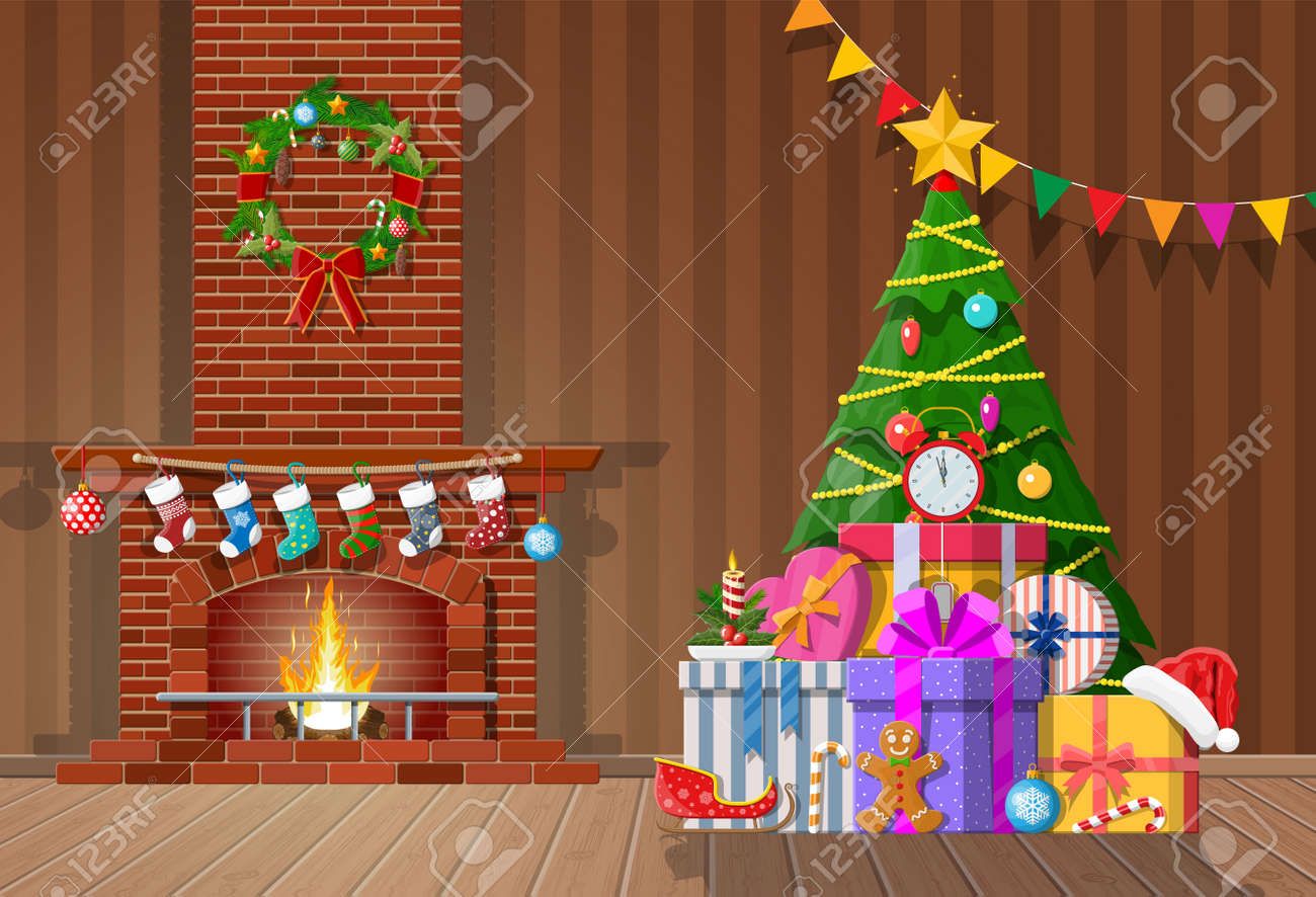 Christmas interior of room with tree, gifts and decorated fireplace. Happy new year decoration. Merry christmas holiday. New year and xmas celebration. Vector illustration flat style - 126950155