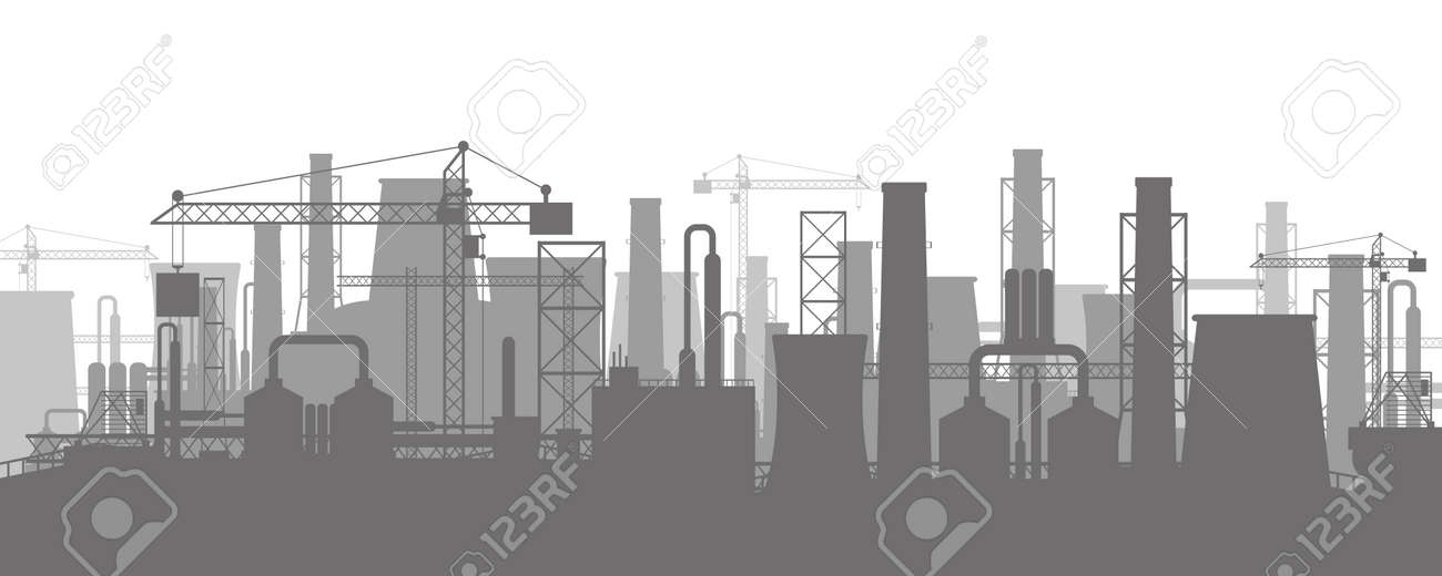 Panoramic industrial silhouette landscape. Smoking factory pipes. Plant pipes, sky with sun. Carbon dioxide emissions. Environment contamination. Pollution of environment co2. Vector illustration - 124273943