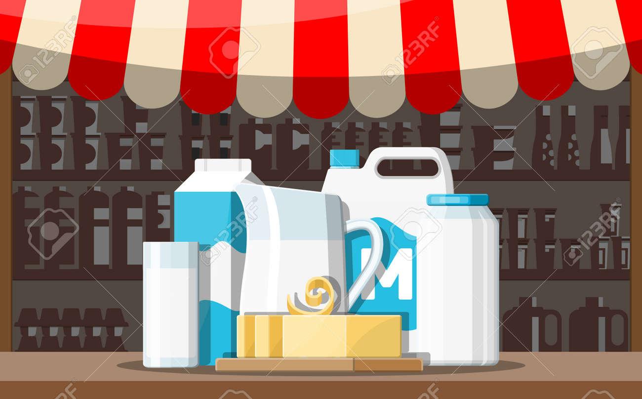 Milk street market store stall  Farmer shop or showcase counter