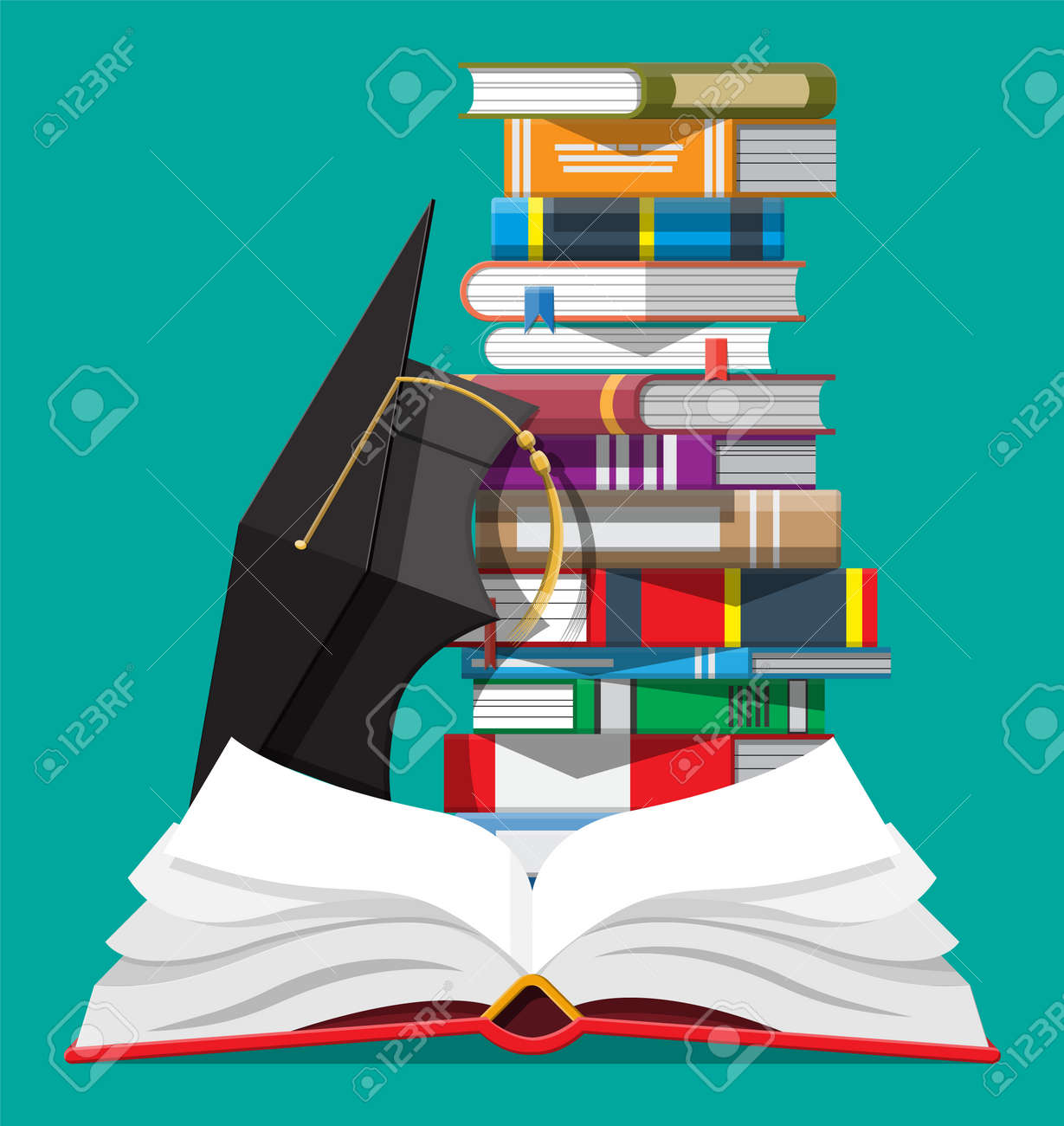 Graduation cap and stack of books. - 137652462