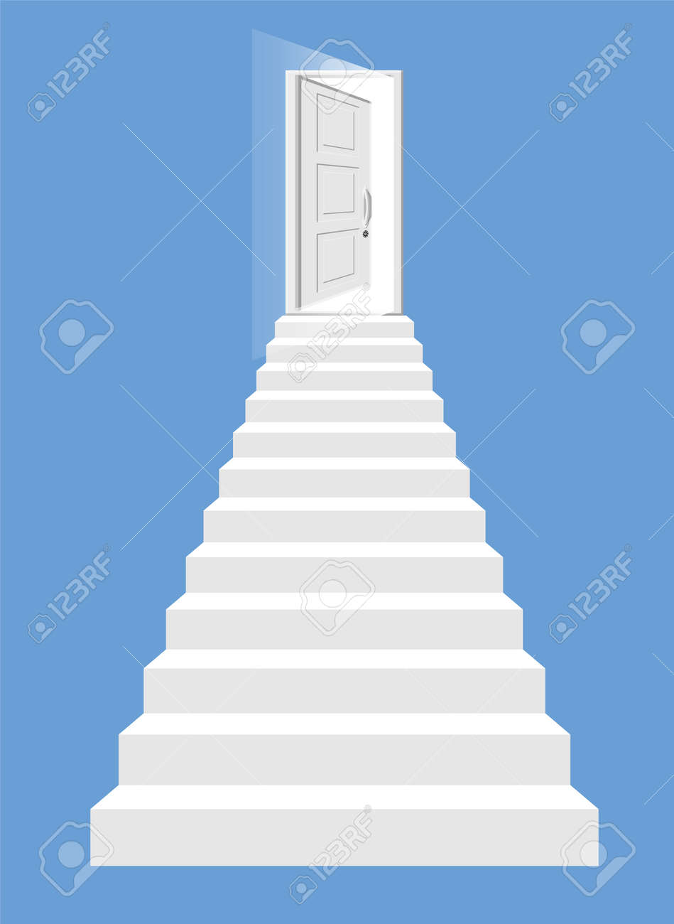 White stairs and open door isolated. Steps up to the shining entry. Concept of success, achievement, stairway to heaven. Symbol of motivation, development. Flat vector illustration - 150643507