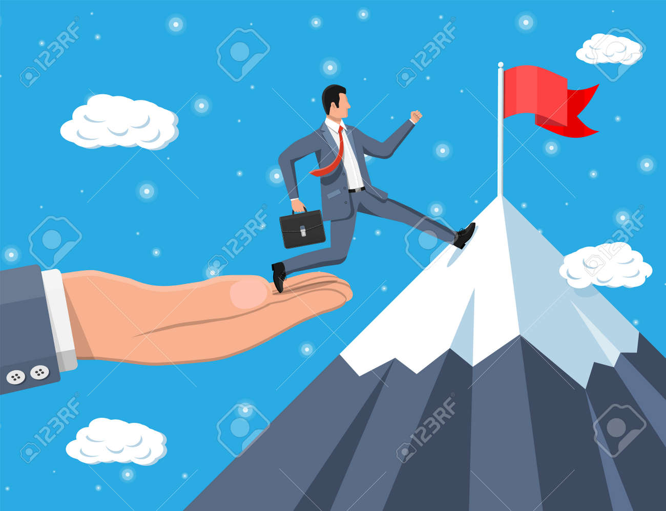 Businessman on chart ladder is fast running with waving necktie and briefcase. Goal setting. Smart goal. Business target concept. Achievement and success. Vector illustration in flat style - 156734743