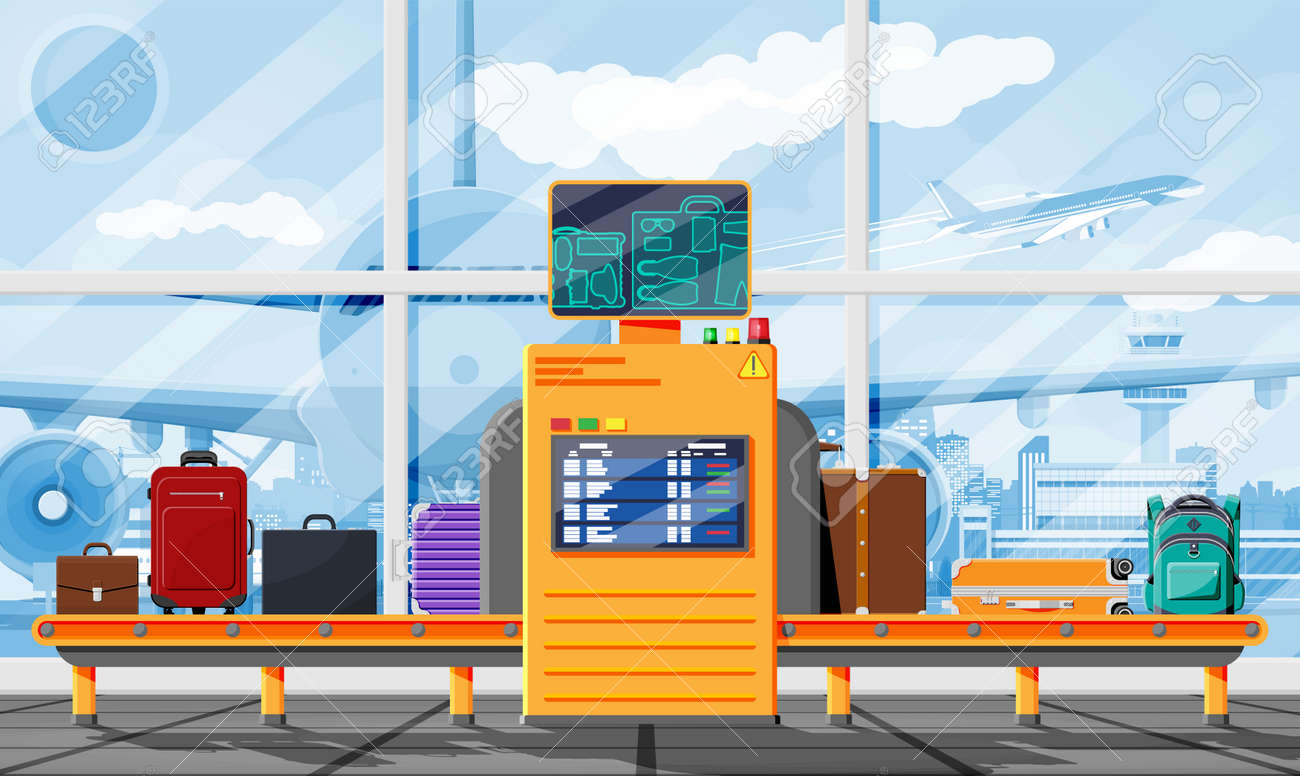 Airport Security Scanner. Conveyor With Luggage - 169586835