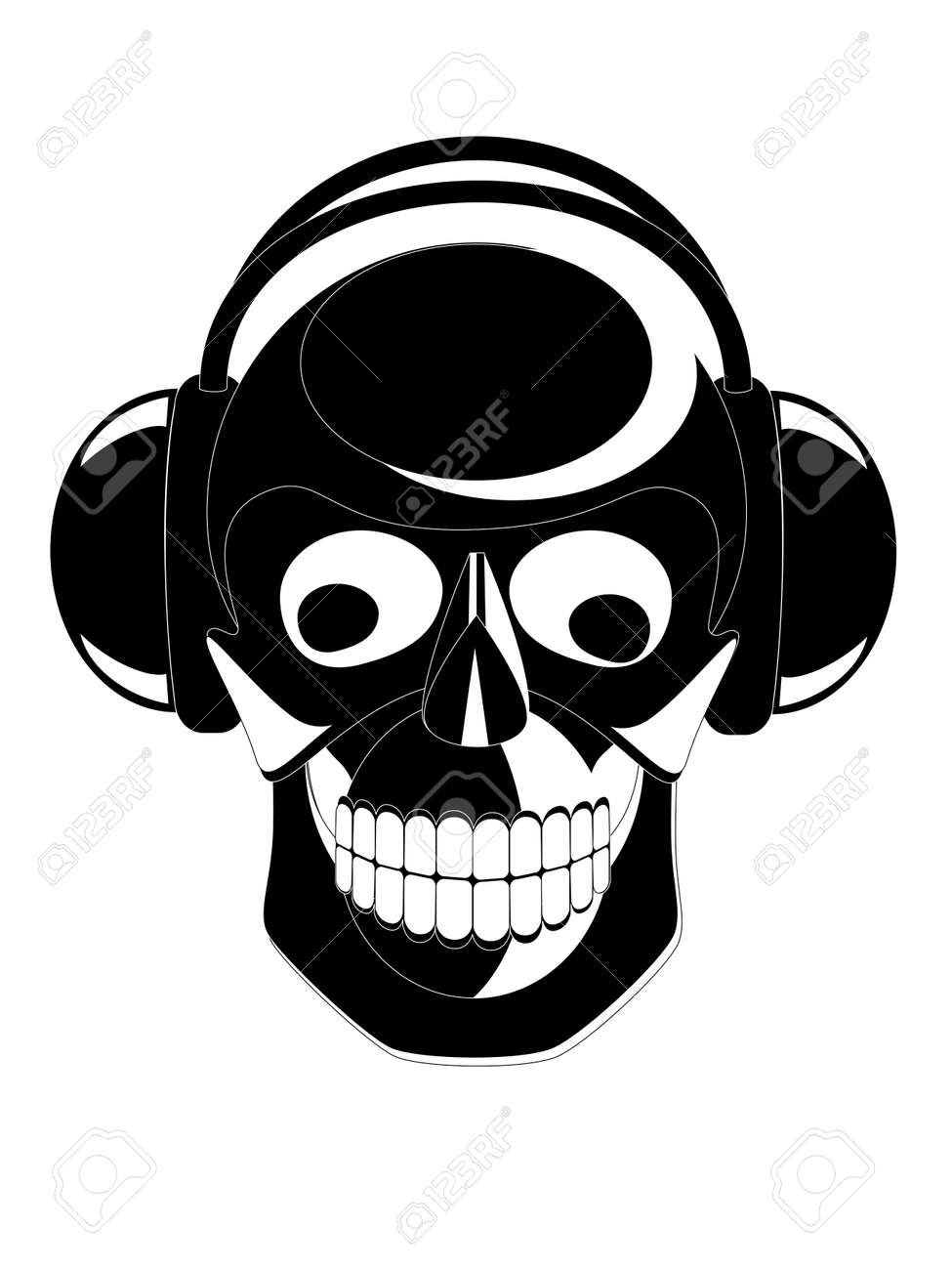Vector black and white image of skull with headphones Stock Vector - 2913503