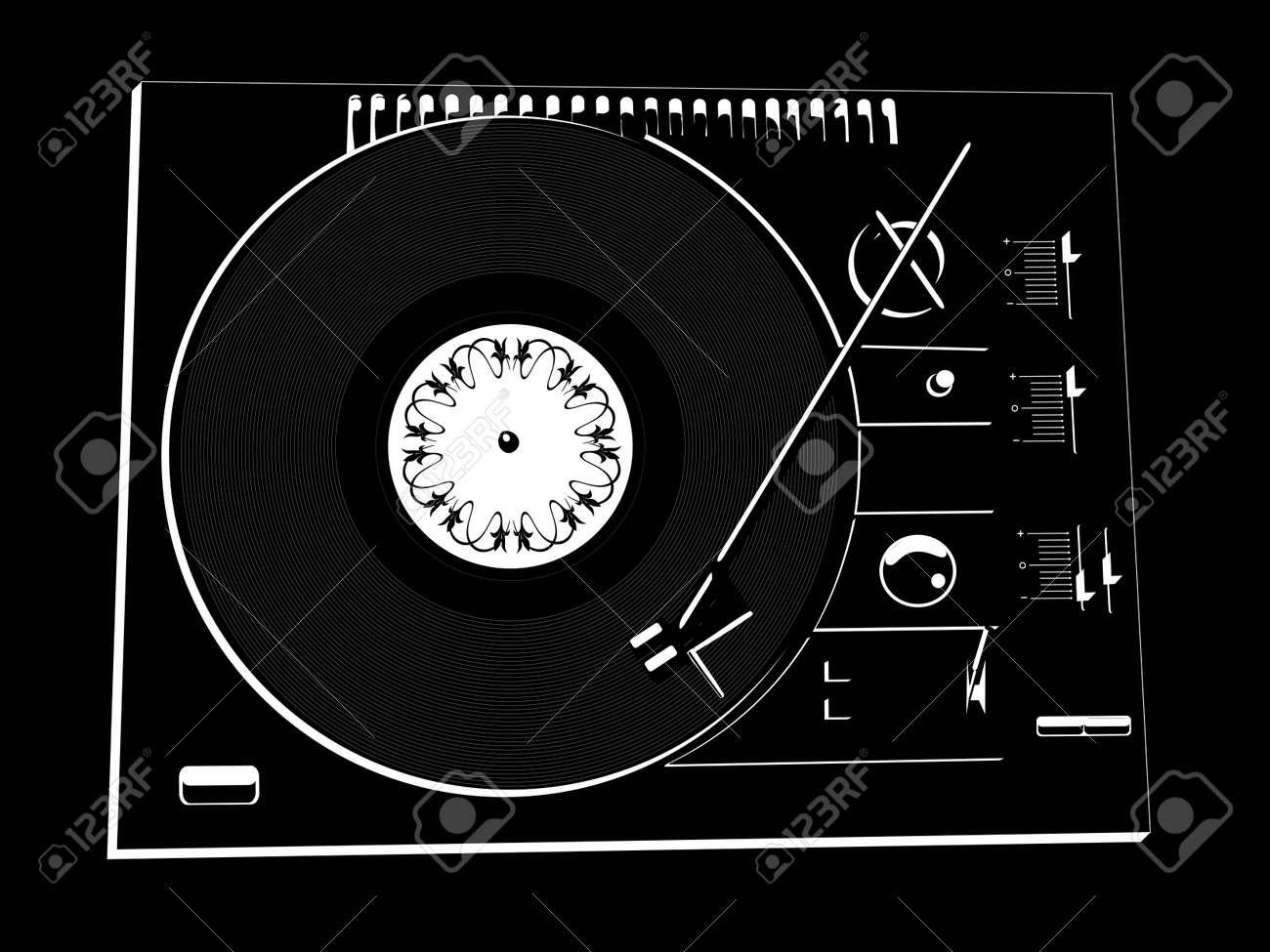 Vector image of a vinyl DJ's deck black colour on black background. Stock Vector - 3010795