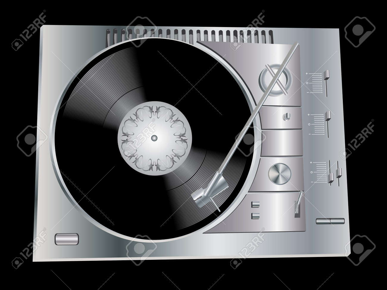 the image of a vinyl dj u0027s deck grey colour on black background
