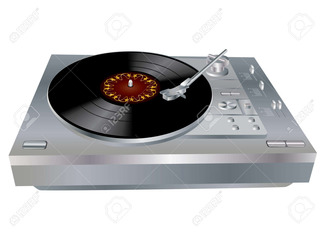 the image of a vinyl dj u0027s deck grey colour on white background