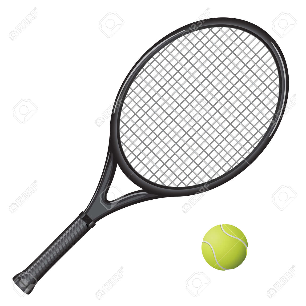 Isolated Image Of A Tennis Racket And Ball Royalty Free Cliparts Vectors And Stock Illustration Image 8951167