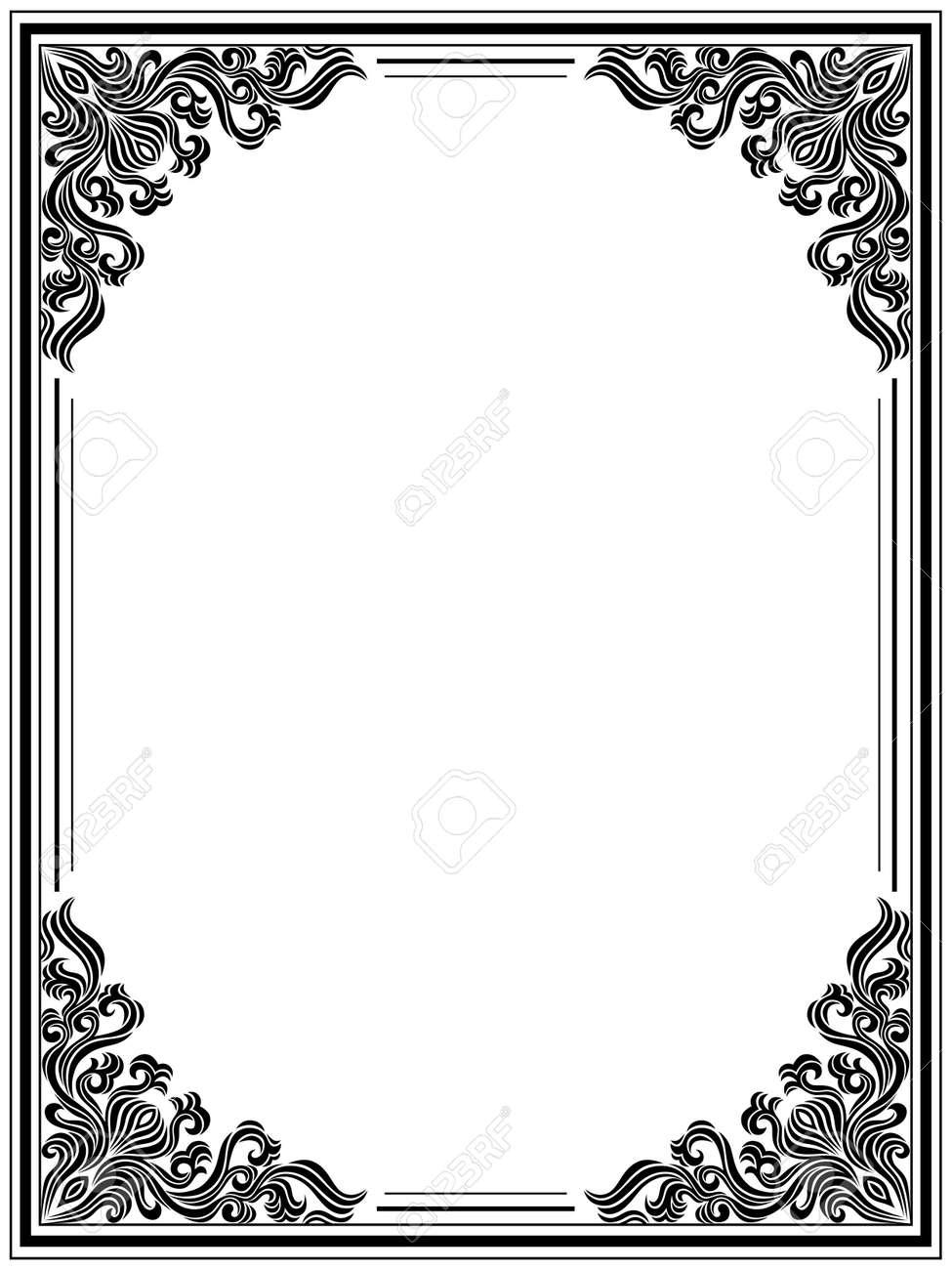 Flower Frames And Borders Black White Vector