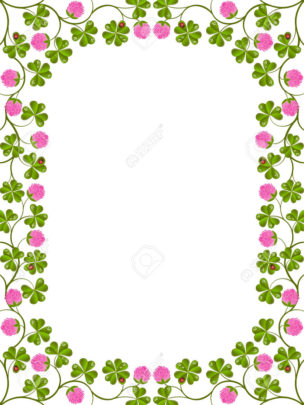 Floral frame with a clover Stock Vector - 9807491