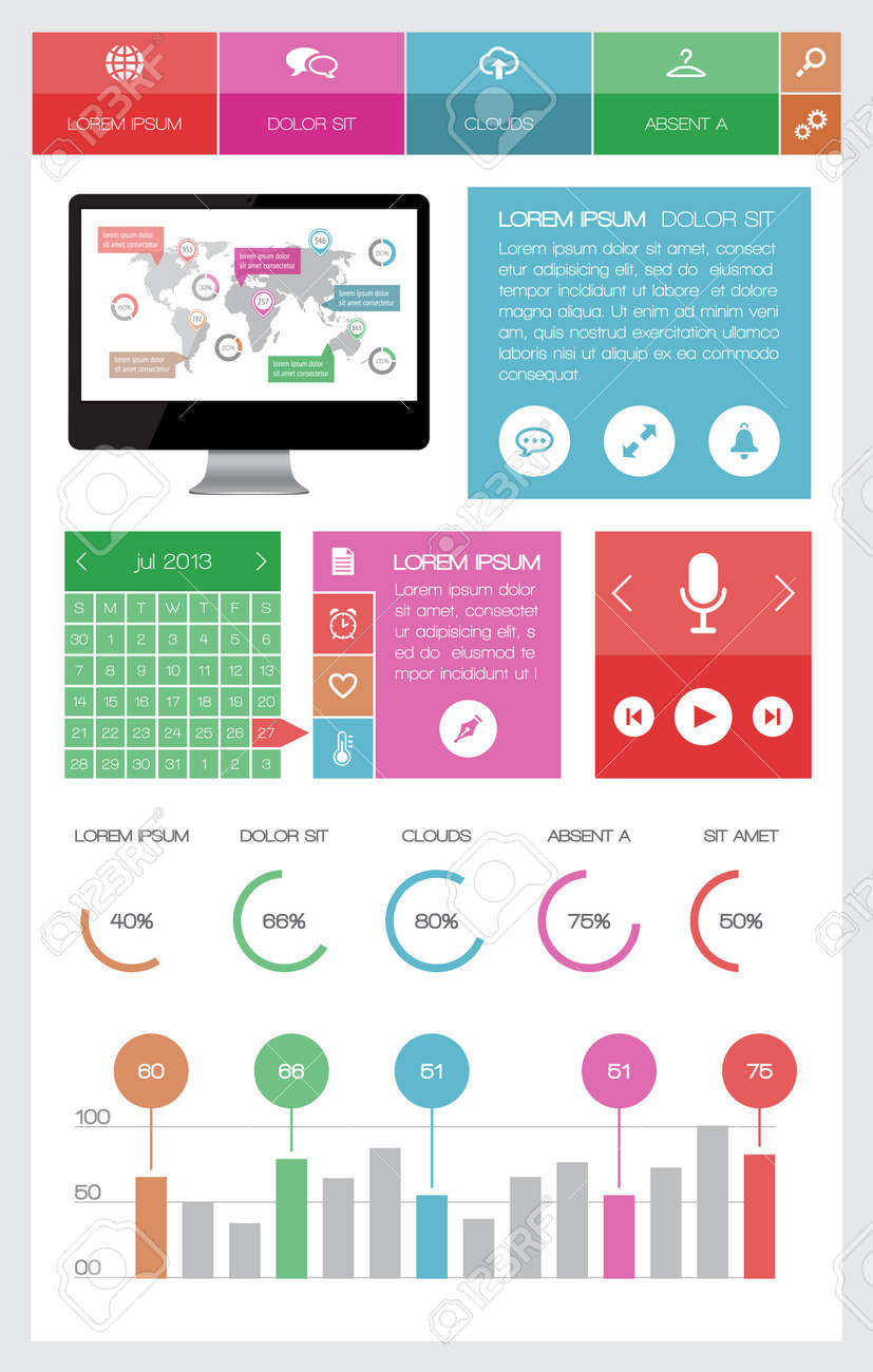Ui, infographics and web elements including flat design Stock Vector - 20788760