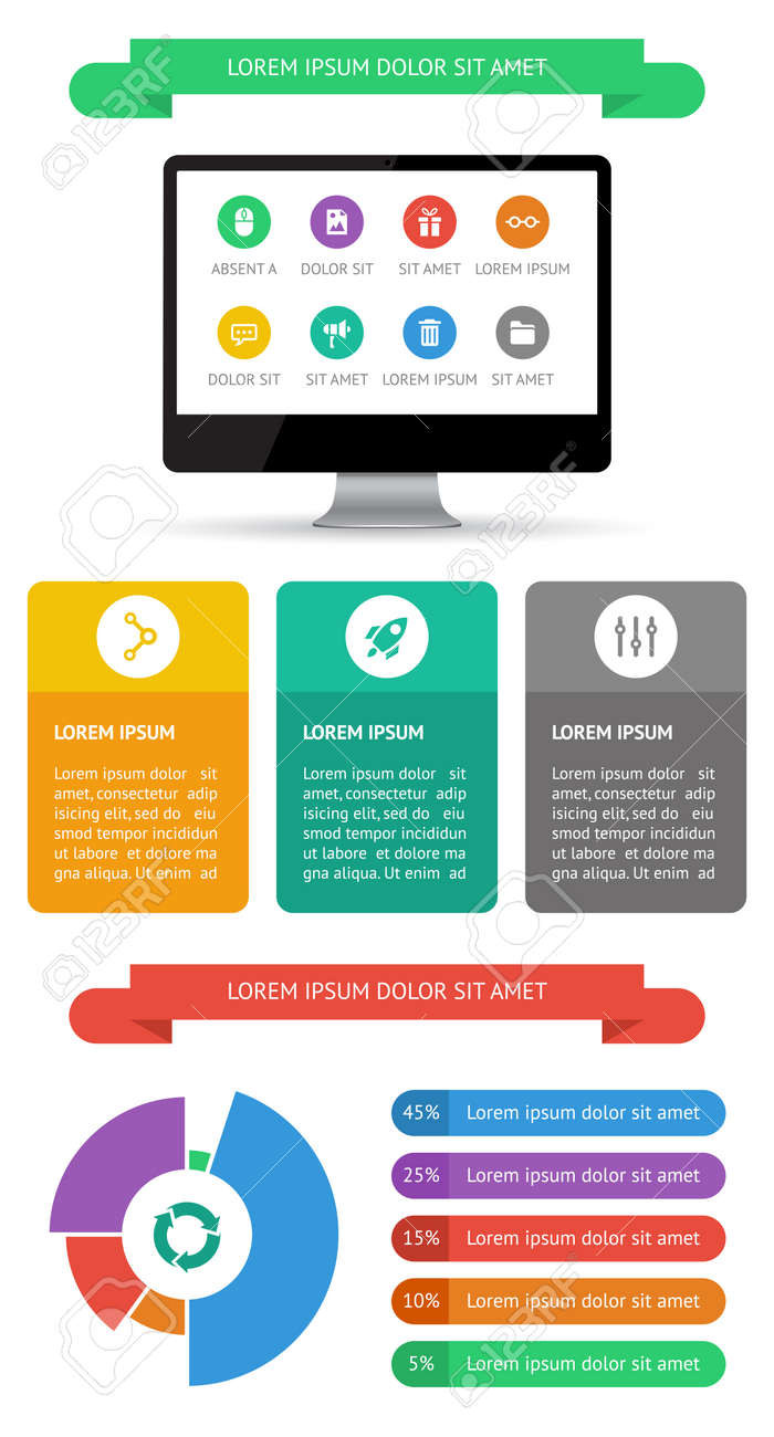 Ui, infographics and web elements including flat design Stock Vector - 21063016