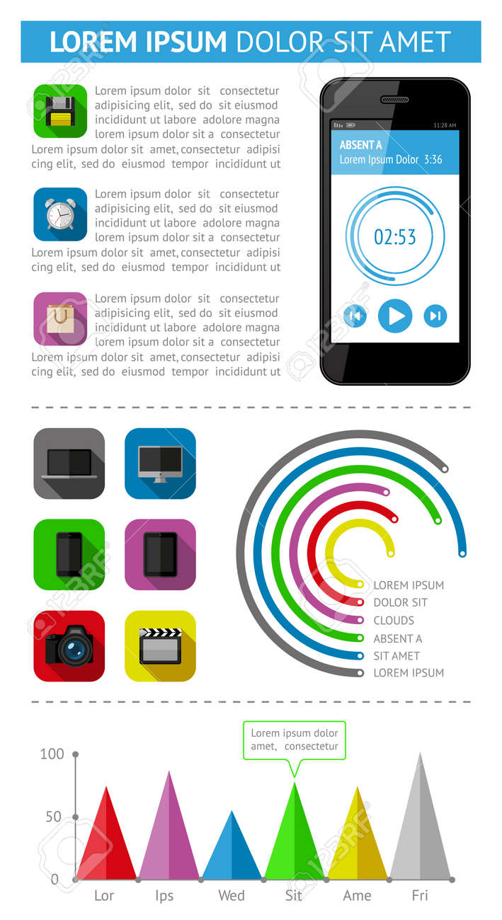 Ui, infographics and web elements including flat design Stock Vector - 21990712