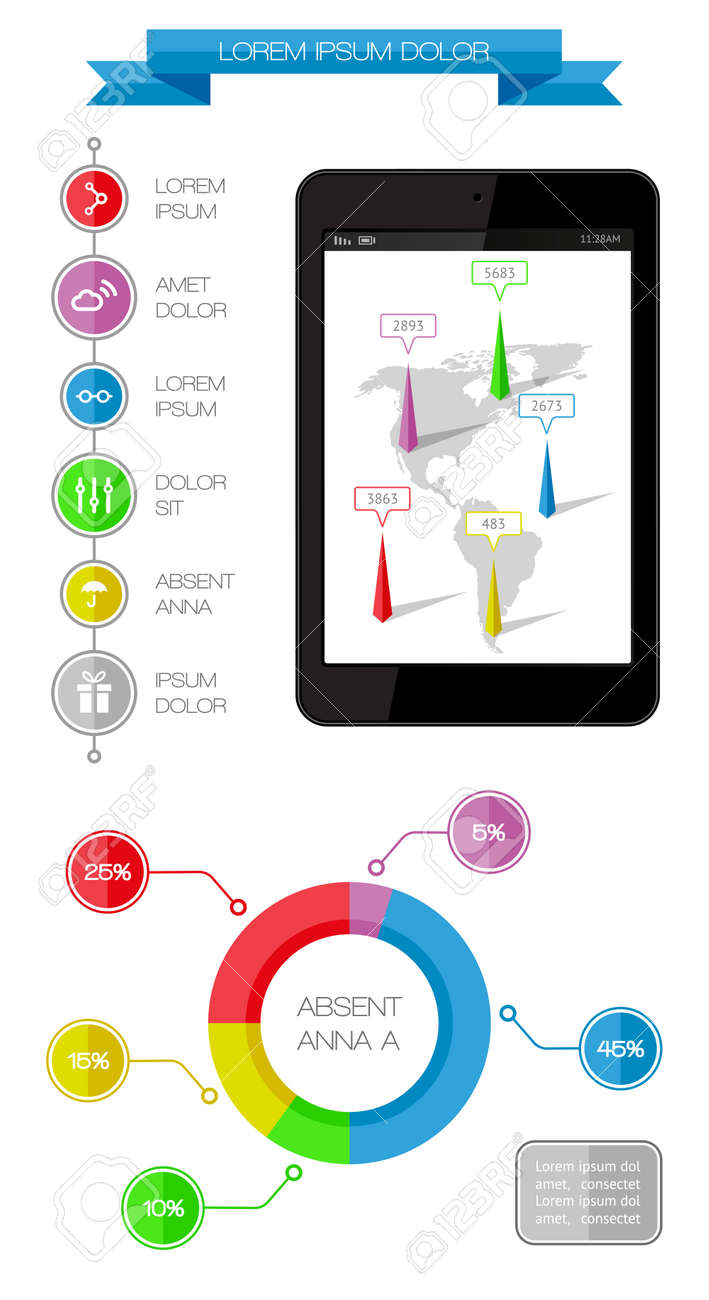 Ui, infographics and web elements including flat design Stock Vector - 22422855