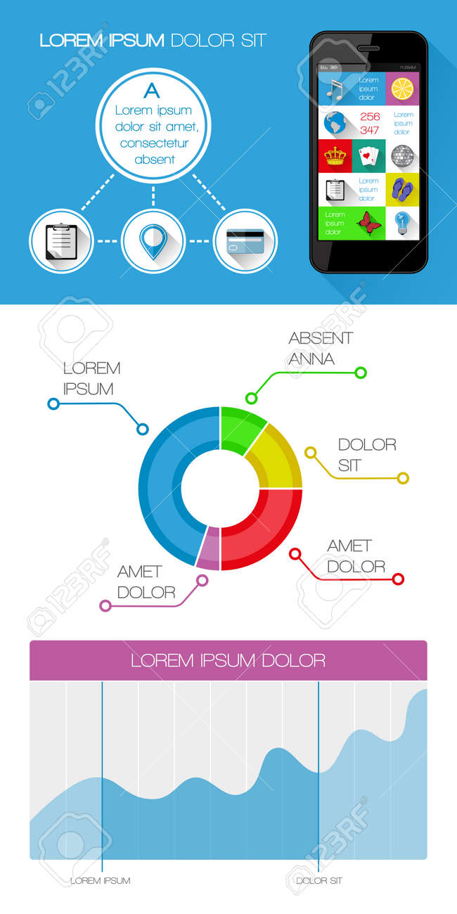 Ui, infographics and web elements including flat design Stock Vector - 24626404