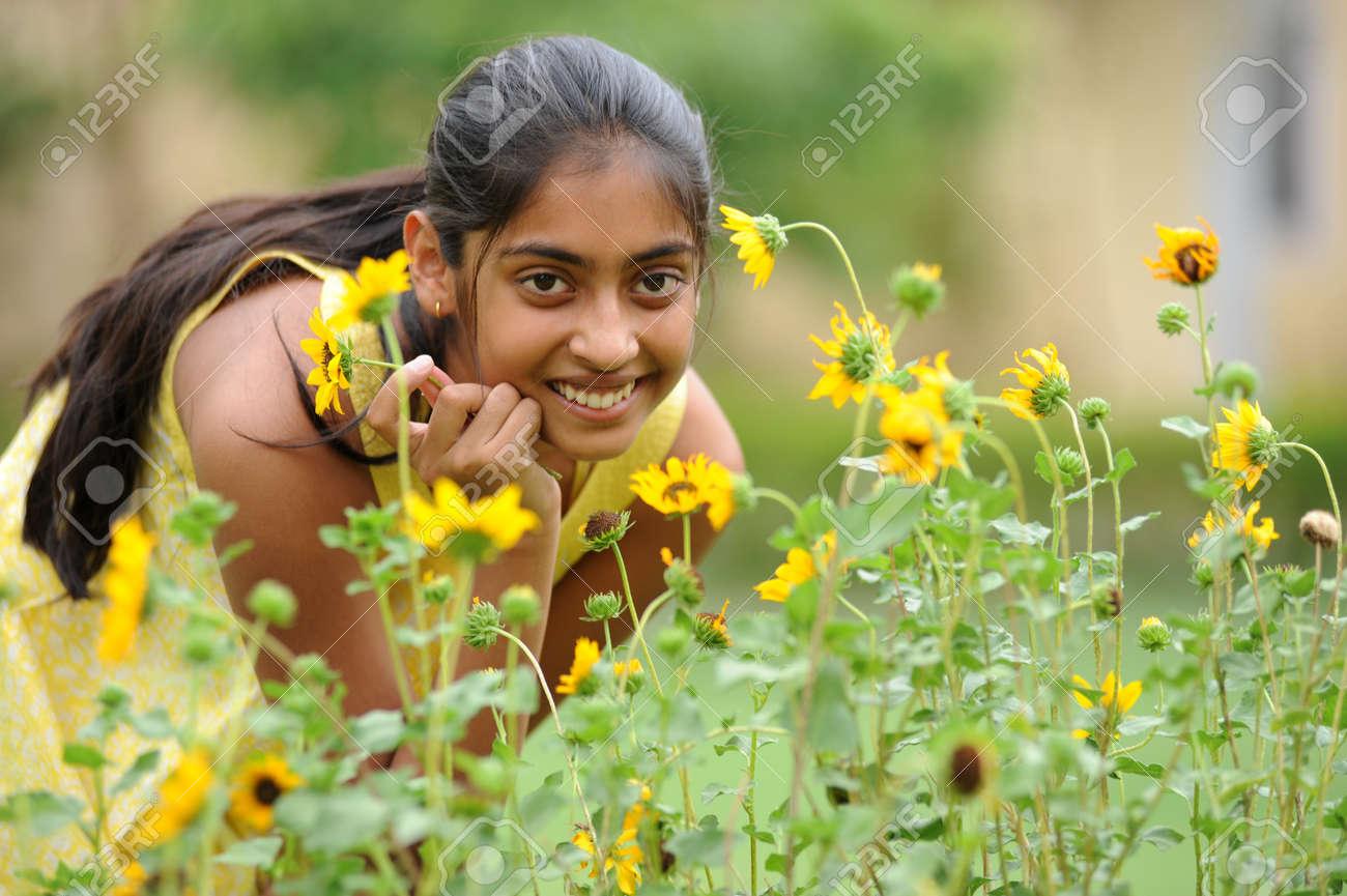indian beautiful girl enjoying domestic garden Stock Photo - 7275024