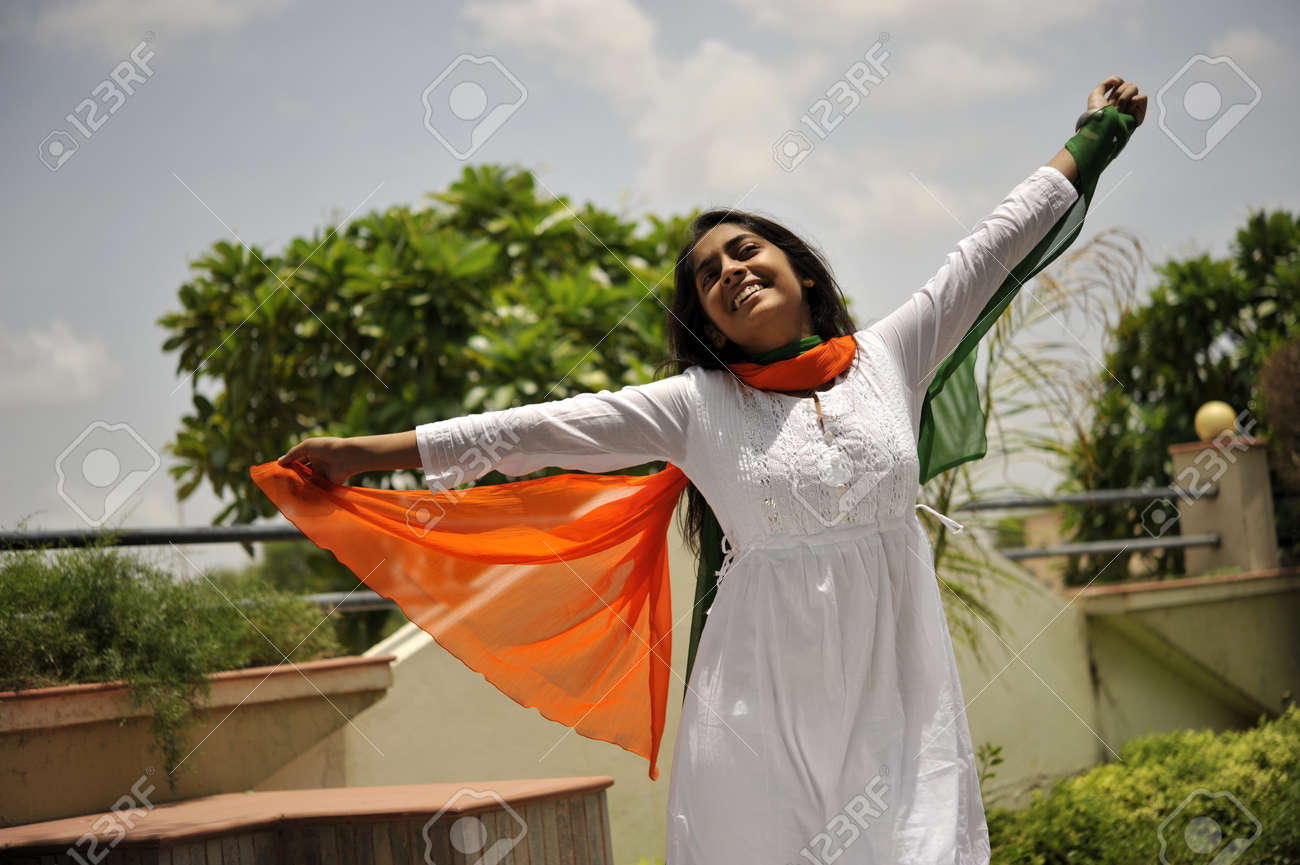 indian girl expressing freedom with stretching arms Stock Photo - 7363042