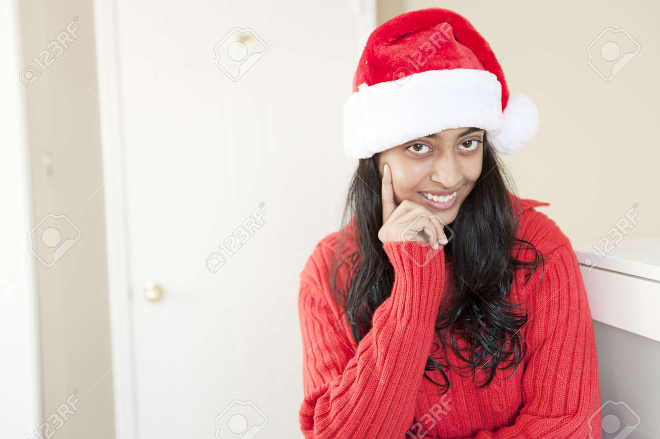 Portrait Of Pretty Indian Christmas Girl Stock Photo, Picture And ...