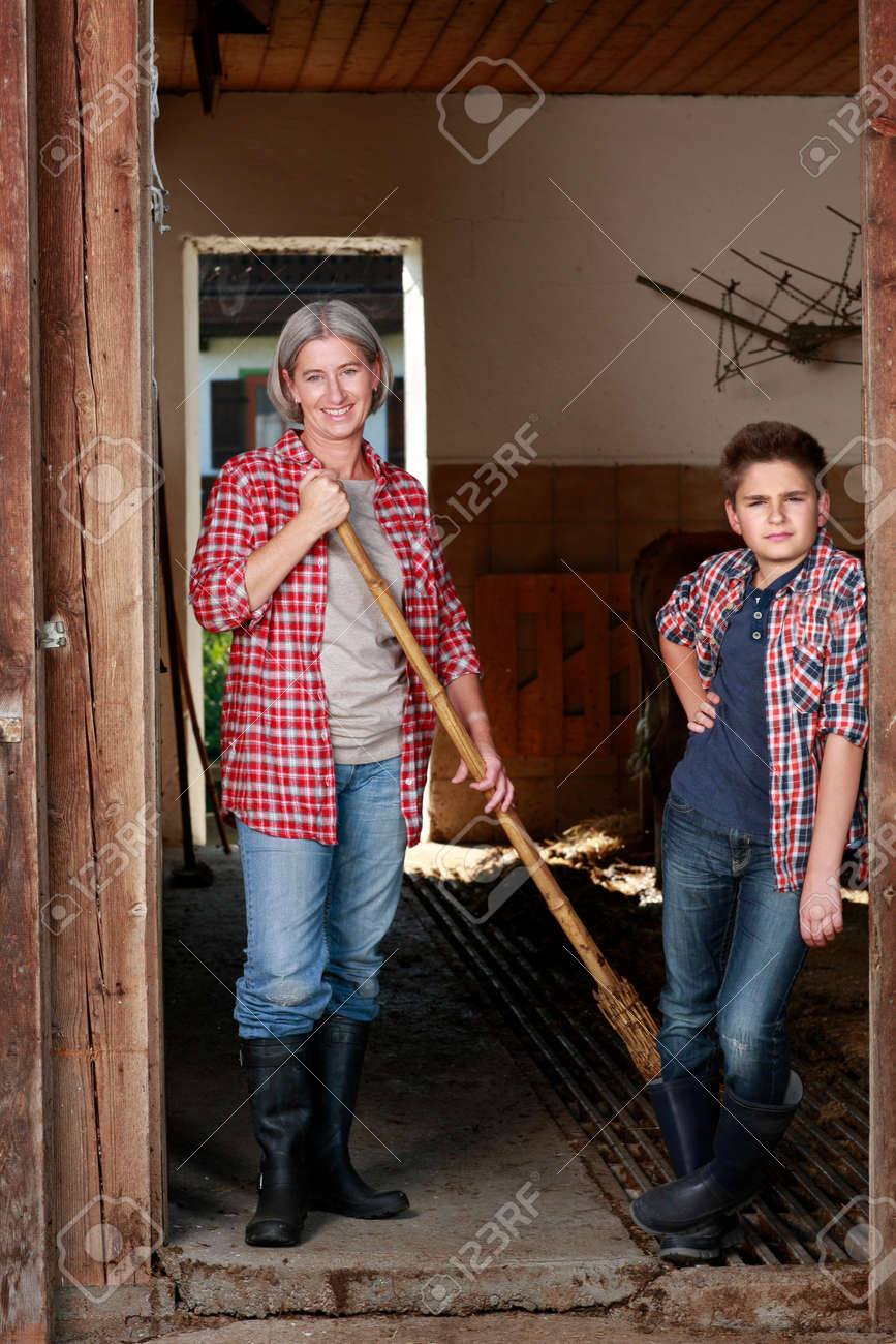Older woman and boy