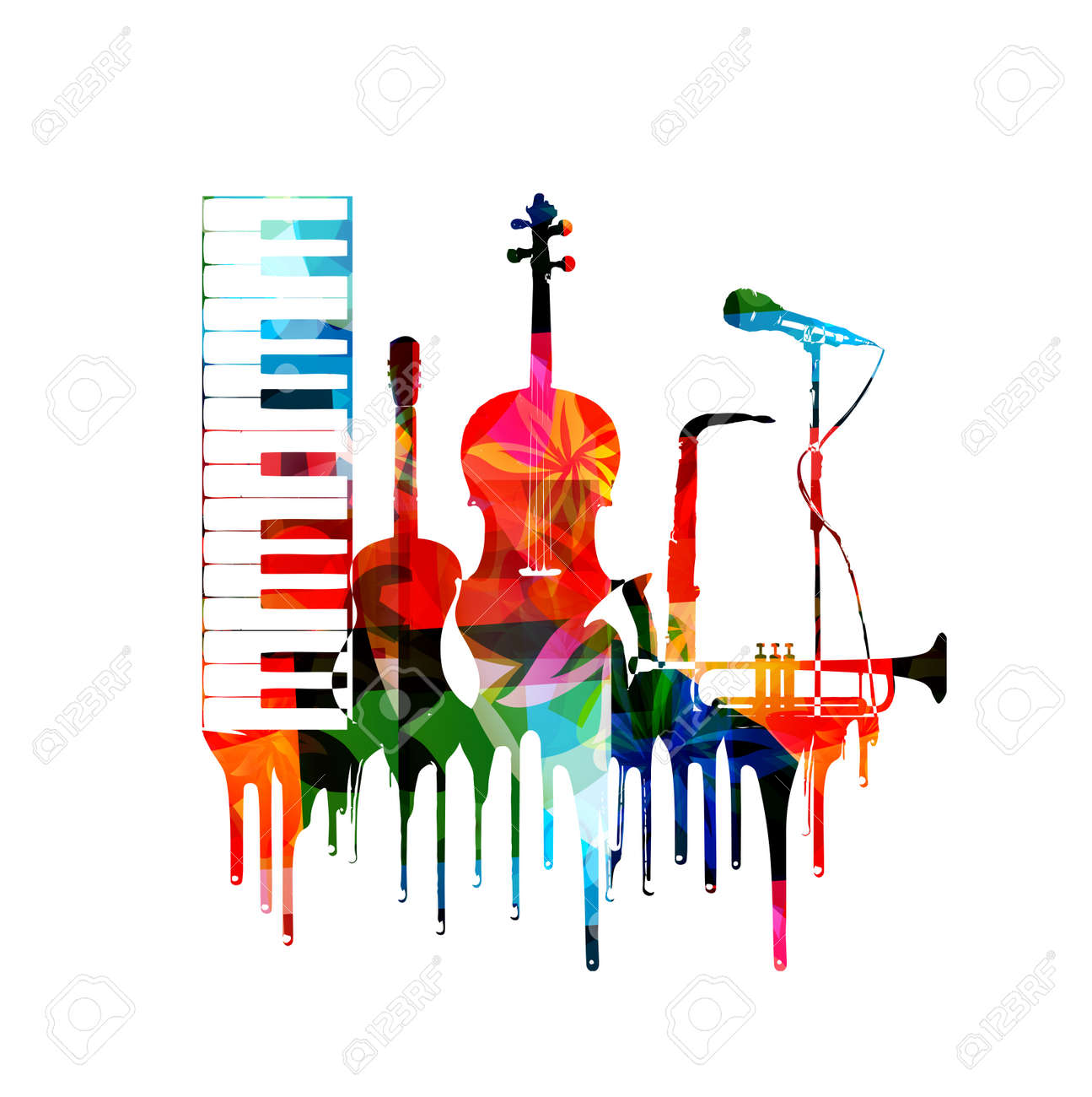 colorful musical instruments background royalty free cliparts