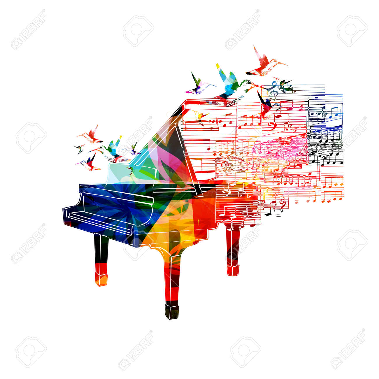 Colorful Piano Design With Hummingbirds Stock Vector