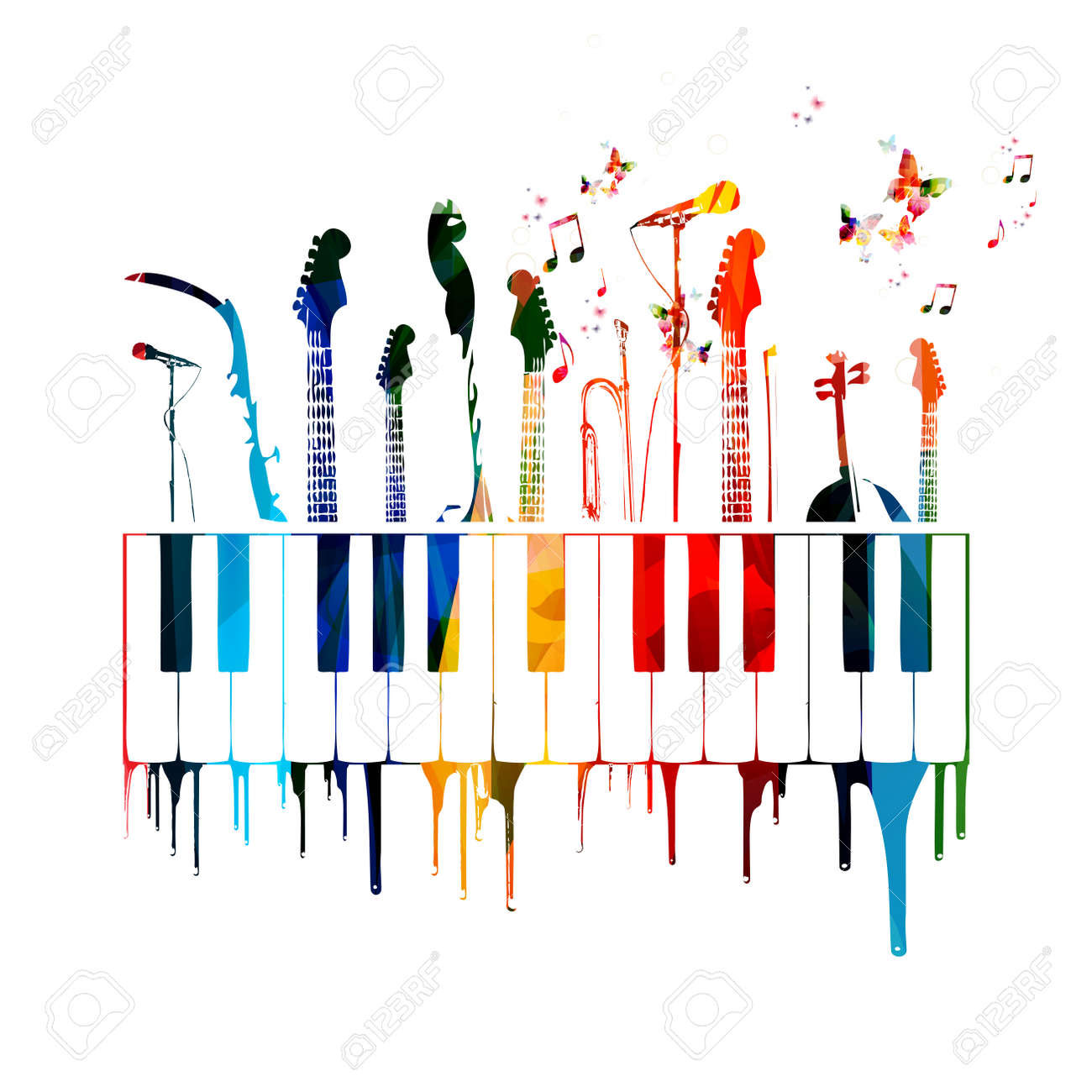 Colorful music instruments background with butterflies - 43199679