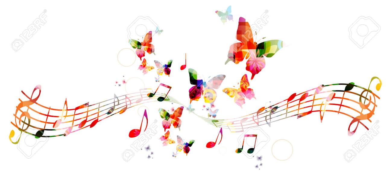 Colorful background with music notes - 43199926