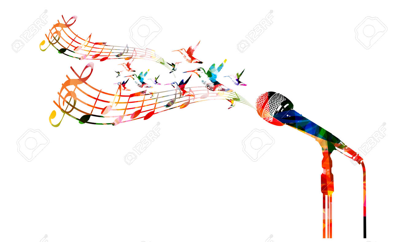 Colorful microphone with hummingbirds - 43568273