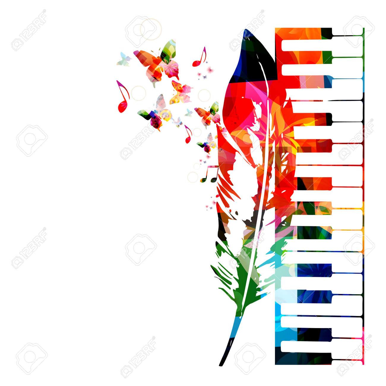 Colorful Piano Design Music Background Stock Vector