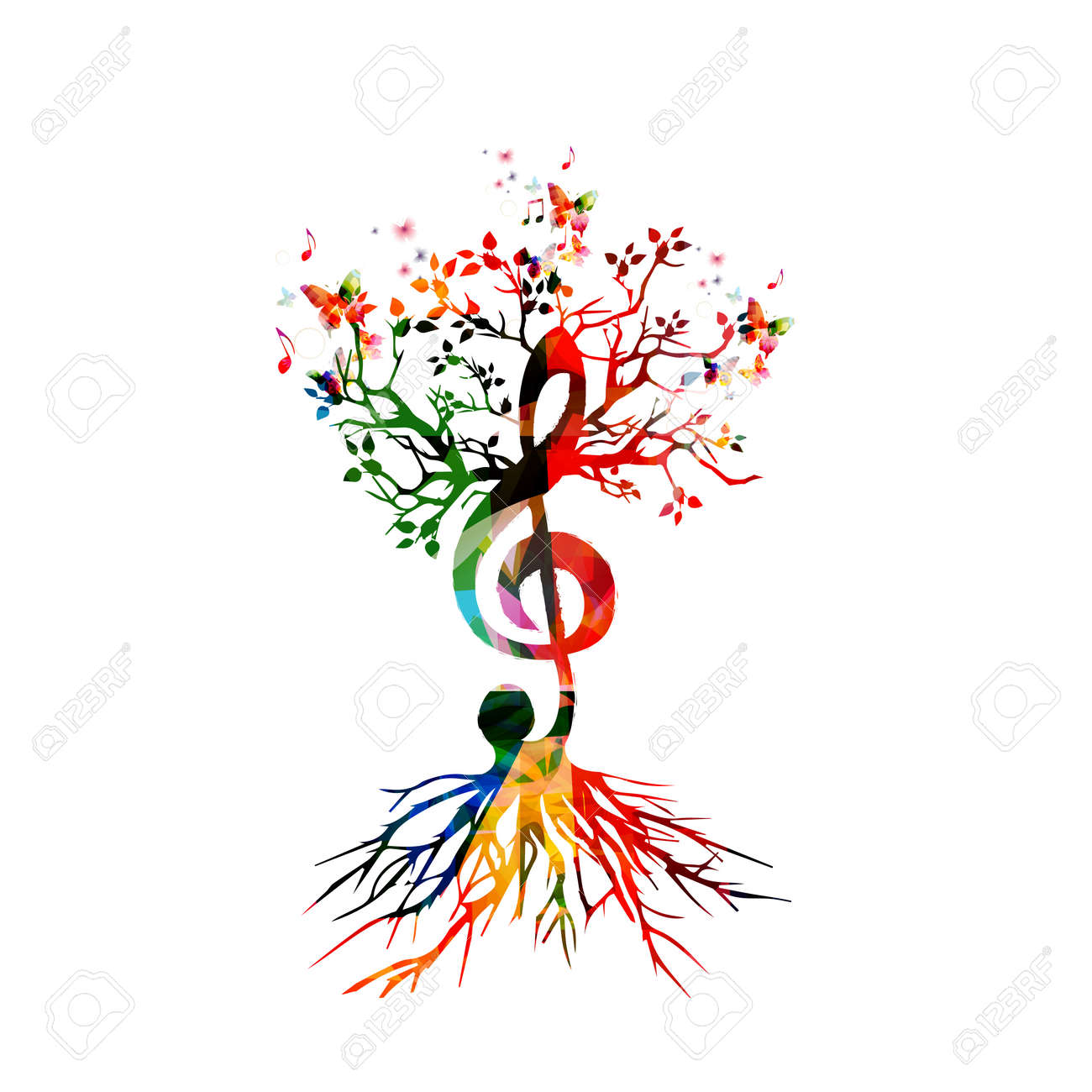 Colorful background with music notes - 50243074