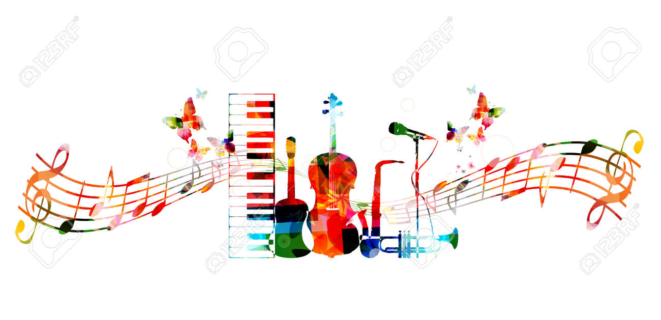 Colorful music instruments design - 52356564