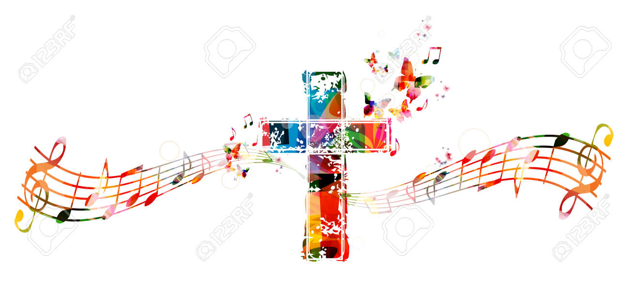Colorful cross with music notes - 52847740