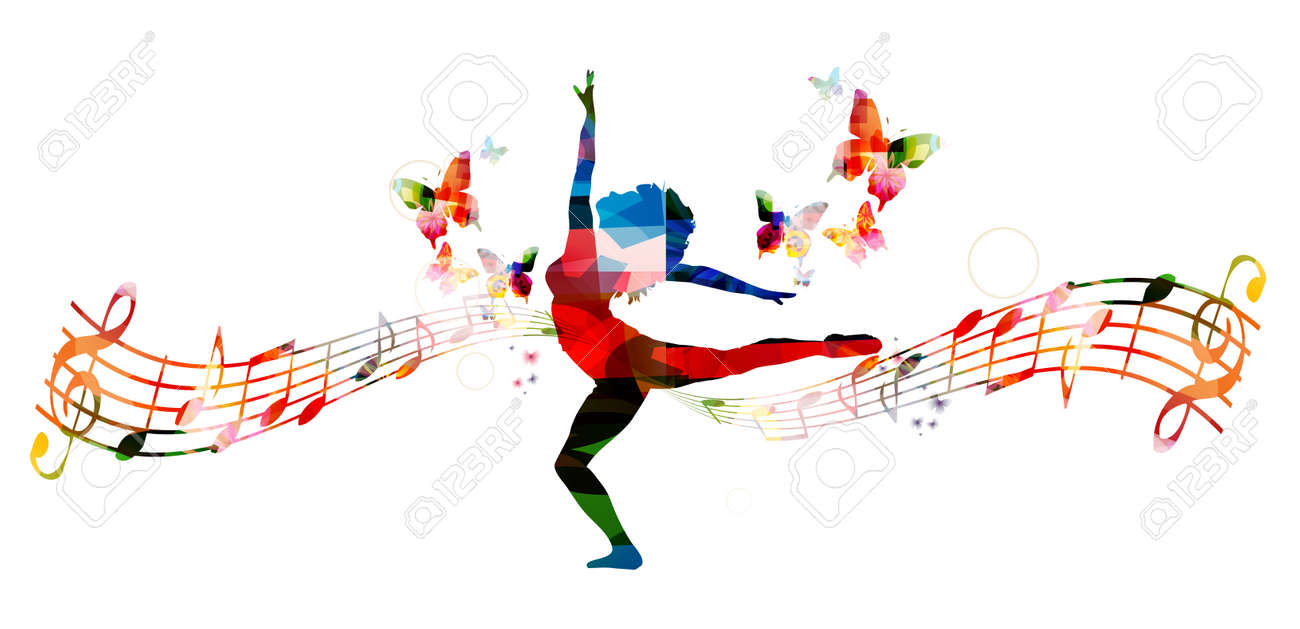 colorful music background with woman dancing royalty free cliparts rh 123rf com Music Notes Single Music Notes