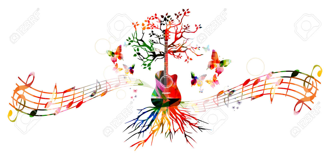 Colorful music background with guitar - 52876758
