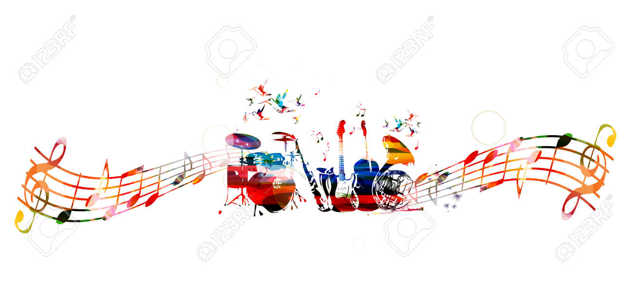 Colorful music instruments background - 53306248