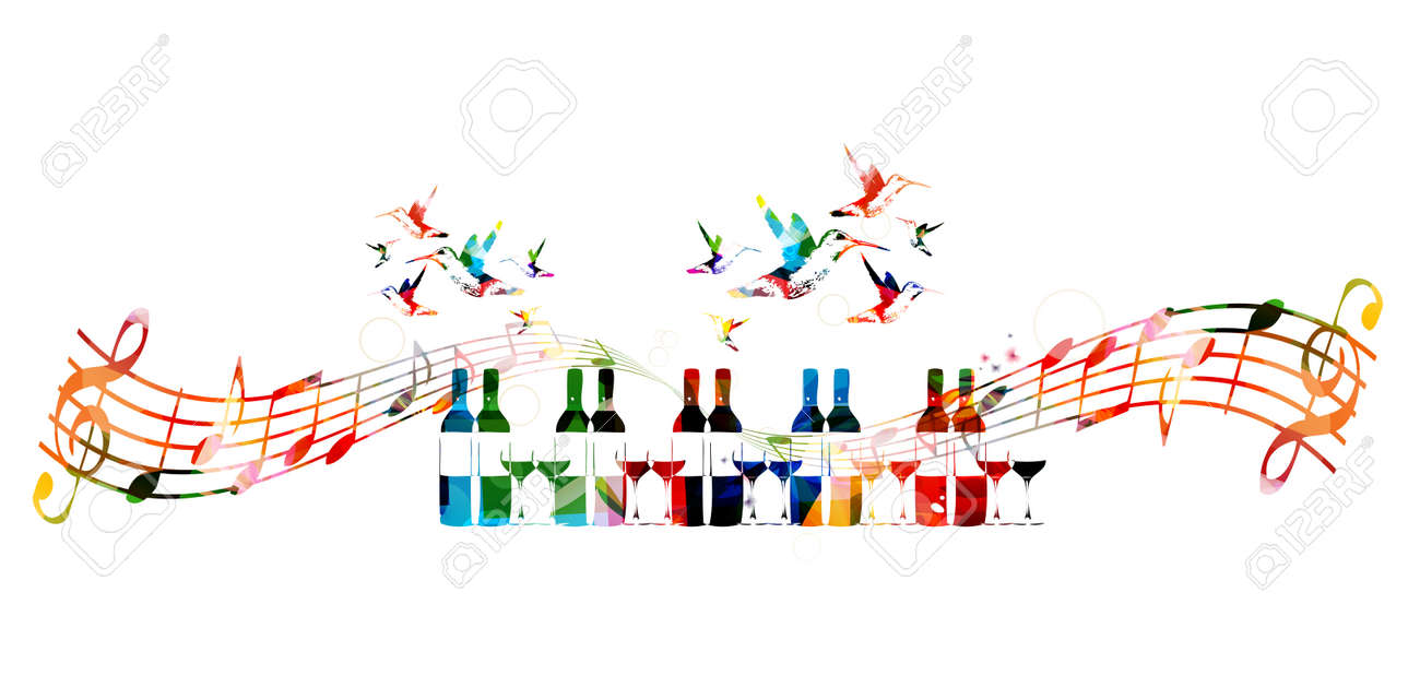 Colorful design with bottles and hummingbirds - 53306255