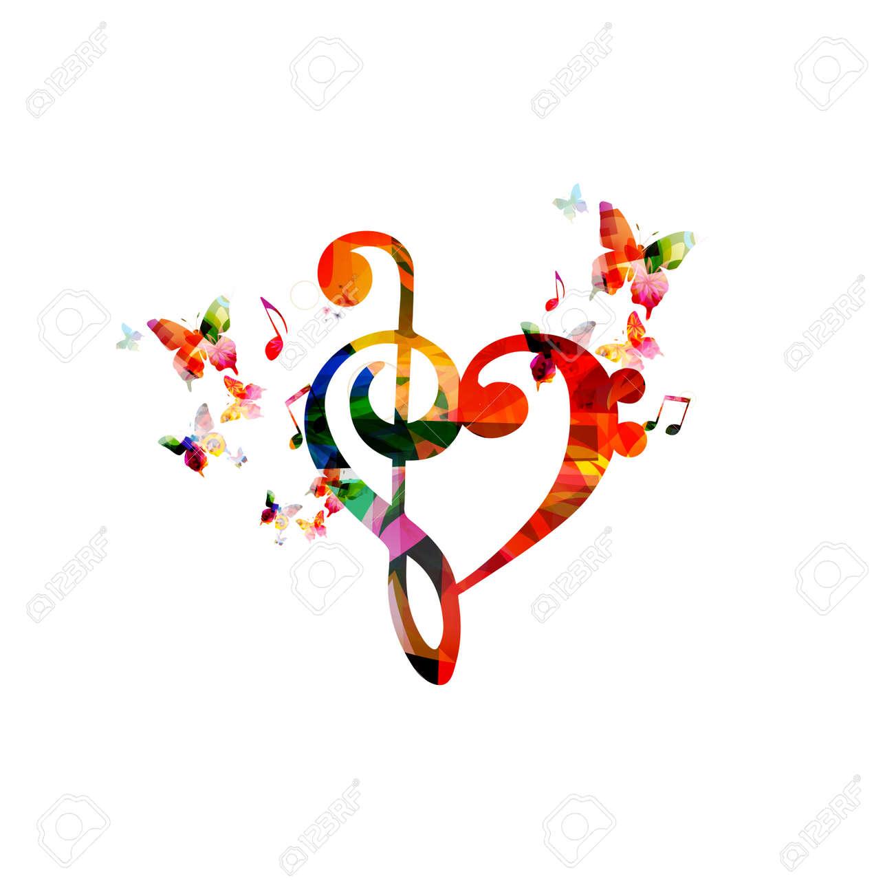 Corazón Colorido Clave De Sol Con Las Mariposas Ilustraciones
