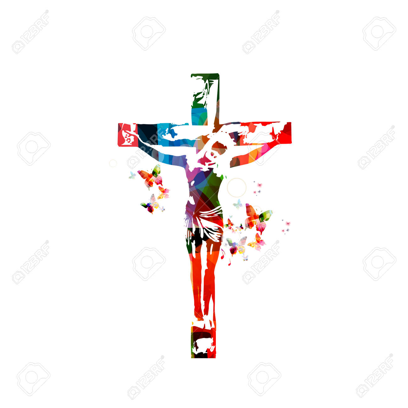 Vector illustration of colorful cross isolated on white background - 66919546